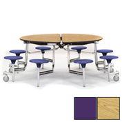 "NPS® 60"" Round Chrome Cafeteria Table with 8 Stools Oak Plywood Core Top/Purple Stools"