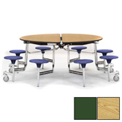 """NPS® 60"""" Round Chrome Cafeteria Table with 8 Stools Oak Plywood Core Top/Red Stools"""