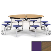 """NPS® 60"""" Round Chrome Cafeteria Table with 8 Stools Walnut Plywood Core Top/Purple Stools"""