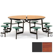 "NPS® 60"" Round Black Cafeteria Table with 8 Stools Cherry Plywood Core Top/Gray Stools"