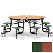 "NPS® 60"" Round Black Cafeteria Table with 8 Stools Cherry Plywood Core Top/Green Stools"