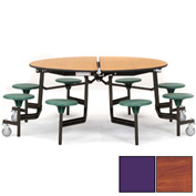 "NPS® 60"" Round Black Cafeteria Table with 8 Stools Cherry Plywood Core Top/Purple Stools"