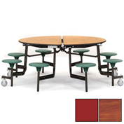 "NPS® 60"" Round Black Cafeteria Table with 8 Stools Cherry Plywood Core Top/Red Stools"