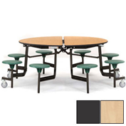 "NPS® 60"" Round Black Cafeteria Table with 8 Stools Maple Plywood Core Top/Gray Stools"