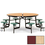 """NPS® 60"""" Round Black Cafeteria Table with 8 Stools Maple Plywood Core Top/Burgundy Stools"""