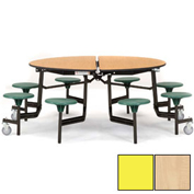 "NPS® 60"" Round Black Cafeteria Table with 8 Stools Maple Plywood Core Top/Yellow Stools"