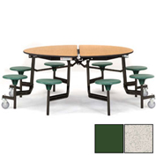 "NPS® 60"" Round Black Cafeteria Table with 8 Stools Gray Plywood Core Top/Green Stools"
