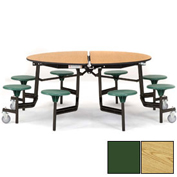 "NPS® 60"" Round Black Cafeteria Table with 8 Stools Oak Plywood Core Top/Green Stools"