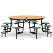 """NPS® 60"""" Round Black Cafeteria Table with 8 Stools Oak Plywood Core Top/Purple Stools"""