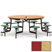 """NPS® 60"""" Round Black Cafeteria Table with 8 Stools Oak Plywood Core Top/Red Stools"""