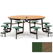 "NPS® 60"" Round Black Cafeteria Table with 8 Stools Walnut Plywood Core Top/Green Stools"
