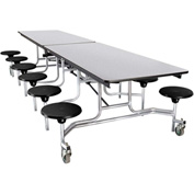 NPS® 12' Mobile Cafeteria Table with Stool, MDF Core Top/Protect-Edge, Gray Top/Black Stool