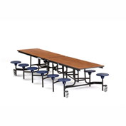NPS® Black 12' Rectangle Cafeteria Table with 12 Stools Cherry MDF Core Top/Blue Stools