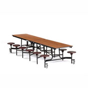 NPS® Black 12' Rectangle Cafeteria Table with 12 Stools Cherry MDF Core Top/Burgundy Stools