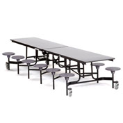 NPS® 12' Cafeteria Table with Stools - Gray MDF Core Top/Gray Stools
