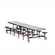 NPS® 12' Cafeteria Table with Stools - Gray MDF Core Top/Burgundy Stools
