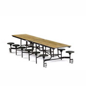 NPS® 12' Cafeteria Table with Stools - Oak MDF Core Top/Black Stools