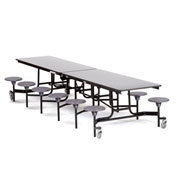 NPS® 12' Cafeteria Table with Stools - Gray Particleboard Core Top/Gray Stools