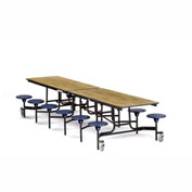 NPS® Black 12' Rectangle Cafeteria Table with 12 Stools Oak Particleboard Core Top/Blue Stools