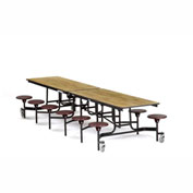 NPS® Black 12' Rectangle Cafeteria Table w/ 12 Stools Oak Particleboard Top/Burgundy Stools