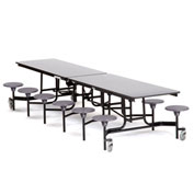 NPS® 12' Cafeteria Table with Stools - Gray Plywood Core Top/Gray Stools