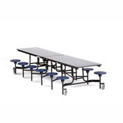 NPS® 12' Cafeteria Table with Stools - Gray Plywood Core Top/Blue Stools