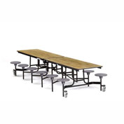 NPS® 12' Cafeteria Table with Stools - Oak Plywood Core Top/Gray Stools