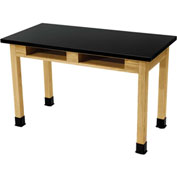 "NPS Science Lab Table with Book Compartments - Phenolic Top - 54"" x 24"" x 36""H - Black"