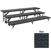 "3 Level Straight Riser with Carpet - 96""L x 18""W - 8""H, 16""H & 24""H - Blue"