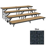 "4 Level Straight Riser with Carpet - 96""L x 18""W - 8""H, 16""H, 24""H & 32""H - Blue"