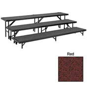 "3 Level Tapered Riser with Carpet - 60""L x 18""W - 8""H, 16""H & 24""H - Red"