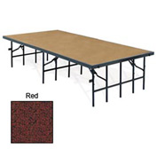 "Portable Stage with Carpet - 96""L x 48""W x 24""H - Red"