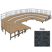 "48""W Carpet Stage Configuration w/9 Stage Units, 12 Pie Units & Guard Rails-Grey"