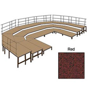 "36""W Carpet Stage Configuration w/9 Stage Units, 12 Pie Units & Guard Rails-Red"