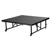 "National Public Seating® Transfix 4'L x 4'W Portable Stage w/ Adjustable 16-24""H & Gray Carpet"