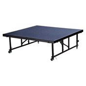 "National Public Seating® Transfix 4'L x 4'W Portable Stage w/ Adjustable 16-24""H & Blue Carpet"