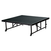 "National Public Seating® Transfix 4'L x 4'W Portable Stage w/ Adjustable 16-24""H & Black Carpet"