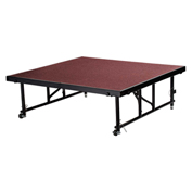 "National Public Seating® Transfix 4'L x 4'W Portable Stage w/ Adjustable 16-24""H & Red Carpet"