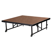 "National Public Seating® Transfix 4'L x 4'W Hardboard Portable Stage with Adjustable 24-32""H"