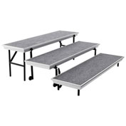 3-Level Straight TransPort Riser - Gray Carpet with Black Aluminum Frame