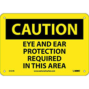"""NMC C151R OSHA Sign, Caution Eye & Ear Protection Required In This Area, 7"""" X 10"""", Yellow/Black"""