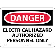 "NMC D268RB OSHA Sign, Danger Electrical Hazard Authorized Personnel Only, 10"" X 14"", White/Red/Black"