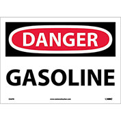 "NMC D40PB OSHA Sign, Danger Gasoline, 10"" X 14"", White/Red/Black"