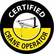 "NMC HH105 Hard Hat Emblem, Certified Crane Operator, 2"" Dia., White/Yellow/Black"