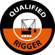 "NMC HH117 Hard Hat Emblem, Qualified Rigger, 2"" Dia., White/Orange/Black"