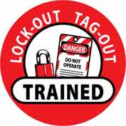 "NMC HH47 Hard Hat Emblem, Lock-Out Tag-Out Trained, 2"" Dia., White/Red/Black"