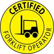 "NMC HH67 Hard Hat Emblem, Certified Forklift Operator, 2"" Dia., Yellow/Black"