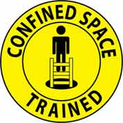 "NMC HH69 Hard Hat Emblem, Confined Space Trained, 2"" Dia., Yellow/Black"