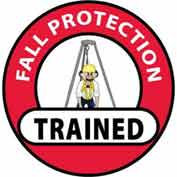 "NMC HH71 Hard Hat Emblem, Fall Protection Trained, 2"" Dia., White/Red/Black"