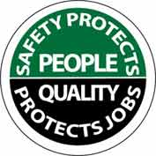 "NMC HH80 Hard Hat Emblem, Safety Protects People Quality Protects Jobs, 2"" Dia., White/Green/Black"